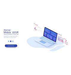 laptop with business graph and analytics vector image