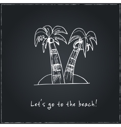Lets go to beach motivational travel poster vector