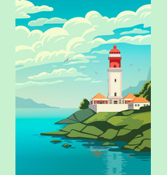 Lighthouse on coast of sea structure of vector