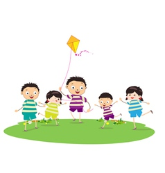 Little children outdoors kites vector image