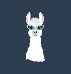 Llama in cateye glasses vector