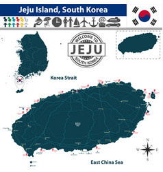 map of jeju island south korea vector image