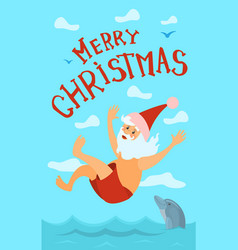merry christmas santa claus diving hat new year vector image