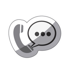 monochrome silhouette sticker of telephone with vector image