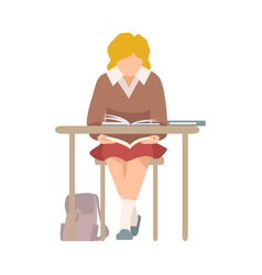 Naughty girl sitting at school desk and reading vector