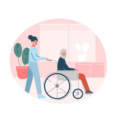 nurse or doctor helping disabled elderly man who vector image