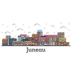Outline juneau alaska city skyline with color vector