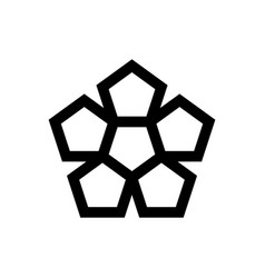 pentagonal star symbol with flower simplicity icon vector image