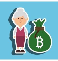 Person woman bit coin web vector