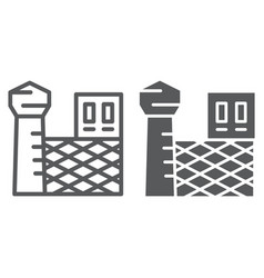 Prison line and glyph icon building and security vector