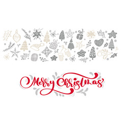 red merry christmas calligraphy lettering vector image