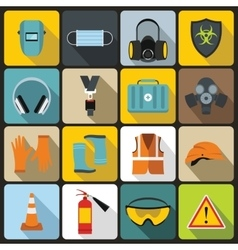 Safety icons set flat style vector image