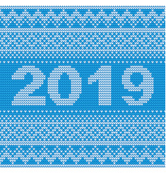 seamless blue 2019 knitting background vector image