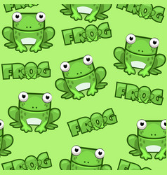 seamless pattern cute cartoon square frog on green vector image