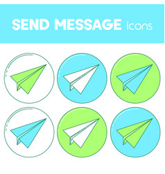 Send message line design icon paper plane set vector