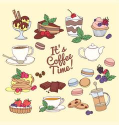 set fresh desserts coffee tea berry ice vector image