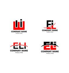 set initial letter logo eli template design vector image