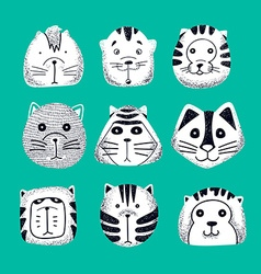 Set of cute doodle cats Character sketch cat vector image