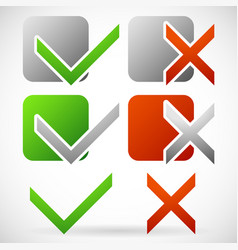 set of various simple check mark and cross symbols vector image