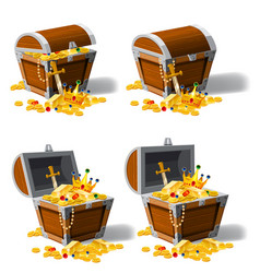 set old pirate chests full of treasures gold vector image