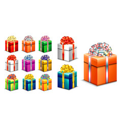 Set realistic gift box with ribbon vector