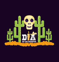 Skull and cactus day of the dead card vector