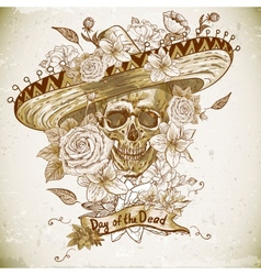 Skull in sombrero with flowers day the dead vector