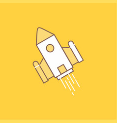 Space craft shuttle space rocket launch flat line vector