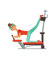 Sportive young woman character exercising on vector