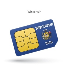 State of wisconsin phone sim card with flag vector
