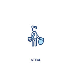 Steal concept 2 colored icon simple line element vector