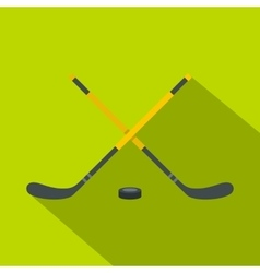 Sticks and puck icon flat style vector