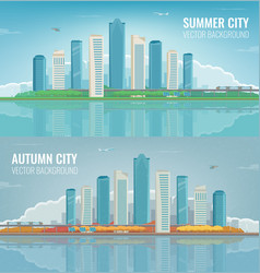 Summer and autumn city urban landscape banners vector