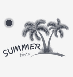Summer time background two palm trees vector