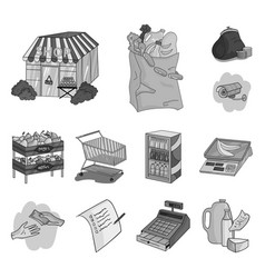 Supermarket and equipment monochrome icons in set vector