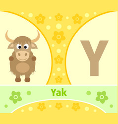 the english alphabet with yak vector image