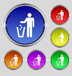 Throw away the trash icon sign Round symbol on vector