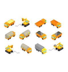 truck set delivery industry and construction vector image