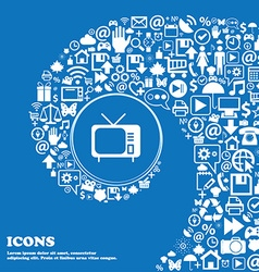 Tv icon sign Nice set of beautiful icons twisted vector