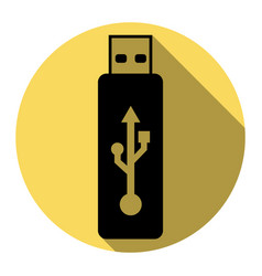 usb flash drive sign flat black vector image