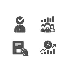 Vacancy teamwork results and parcel invoice icons vector