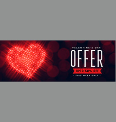 valentines day offer banner with discount details vector image