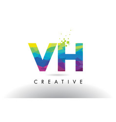 Vh v h colorful letter origami triangles design vector