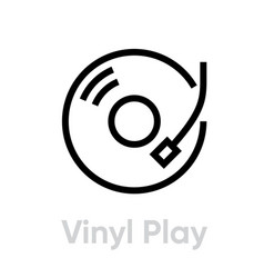 vinyl record play icon vector image