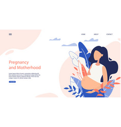 Webside banner pregnancy and motherhood cartoon vector