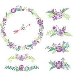 wedding floral elements vector image
