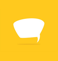 White chat speech bubble with shadow on yellow vector