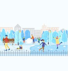 winter city park kids on ice rink figure skating vector image