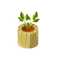 Wooden Pot For Plant Isometric Garden Landscaping vector image