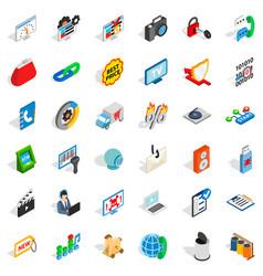 Www marketing icons set isometric style vector